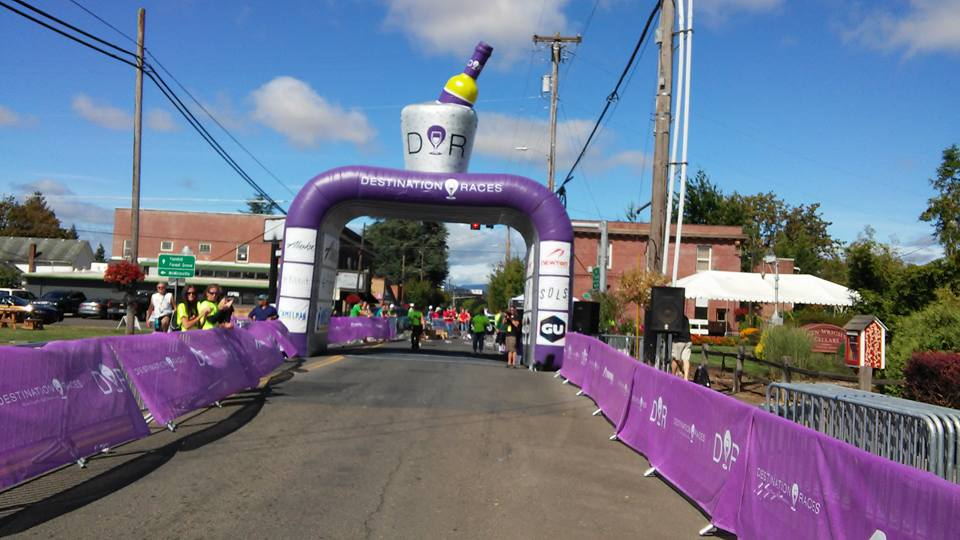Wine Country half marathon - wildiare winos - finish line